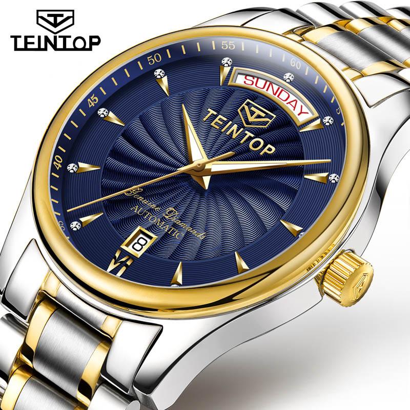 TEINTOP Automatische Herren Uhren Top Brand Luxus Luminous Wasserdicht Blau zifferblatt Sapphire Kalender Mechanische Armbanduhren Männer-in Mechanische Uhren aus Uhren bei  Gruppe 1