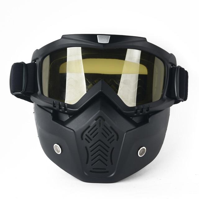 57082ea8f4c Outdoor Ski Bike Motorcycle Riding Helmet Open Face Mask Shield Face Mask  Goggles Detachable Glasses Universal
