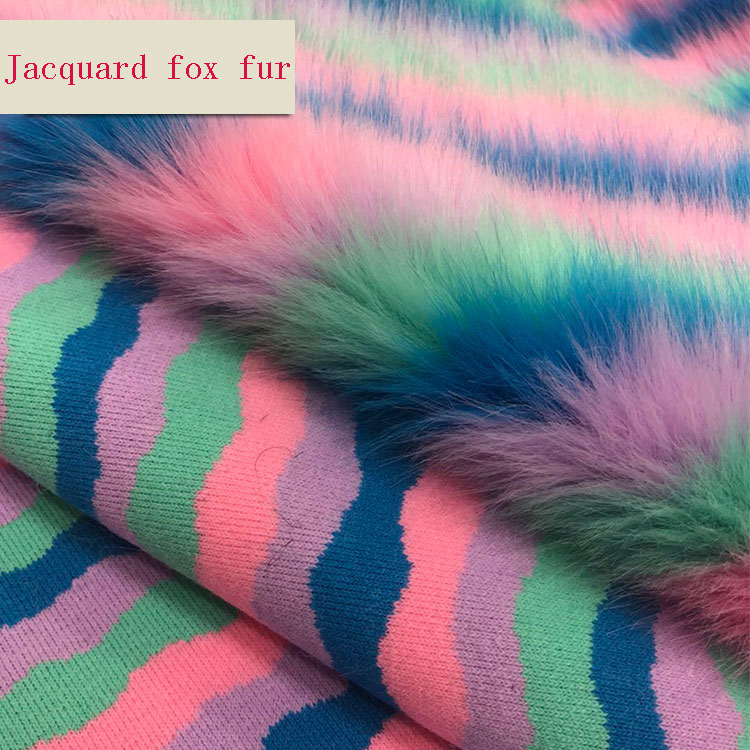 Spot Jacquard Fox Fur Imitation Raccoon Hair Colorful Artificial Plush Hair Ball Fur Collar Faux Fur  Fabric