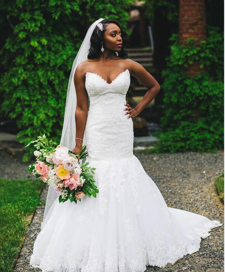 Sexy African Plus Size Mermaid Wedding Dresses 2019 Modest