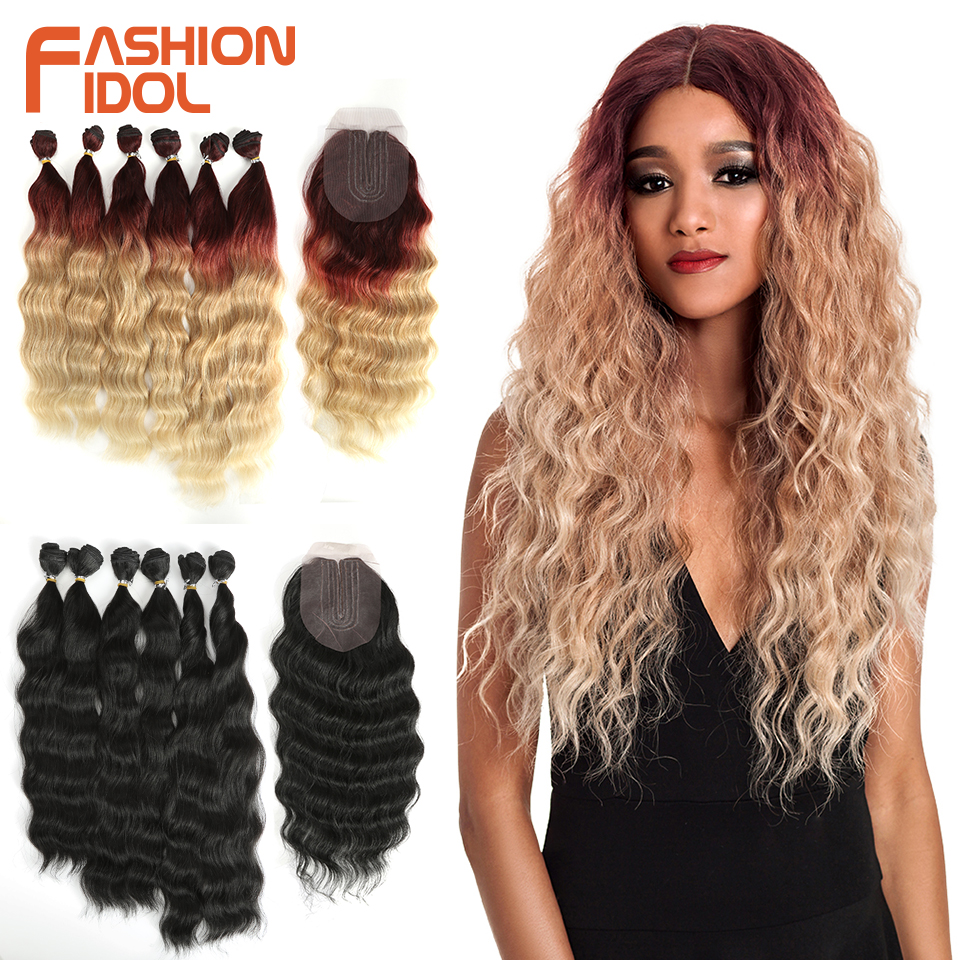 FASHION IDOL Loose Wave Bundles With Closure Synthetic Hair Bundles 7Pcs/Pack 16-20inch Ombre 613 Bundles Weave Hair Extensions(China)