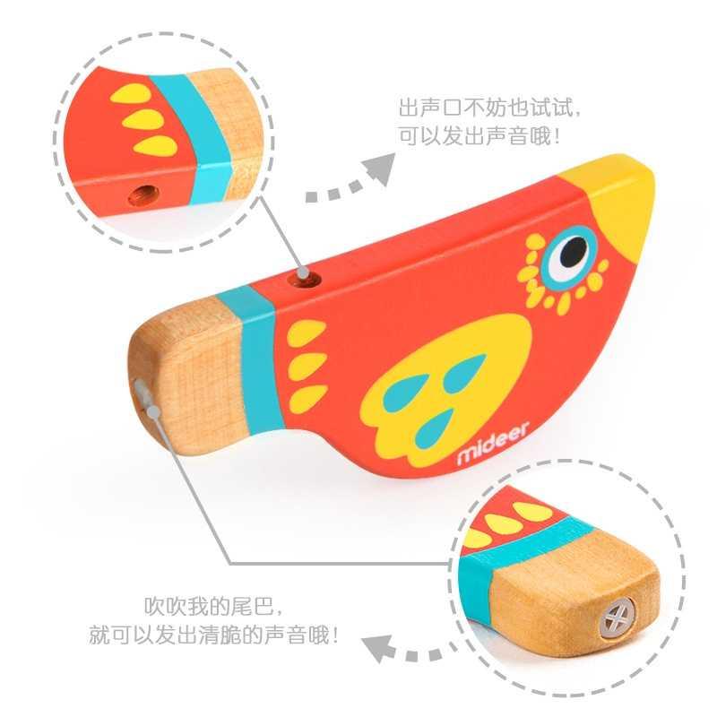 لطيف الكرتون الطيور صافرة الأطفال اللعب الموسيقى لعب خشبية سلامة التعليم المبكر الموسيقى التدريب الدعائم ثلاثة ألوان الطيور بيكولو