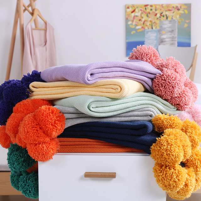 Moda 100% algodón hecho a mano bola de lana de tejer manta para sofá ...