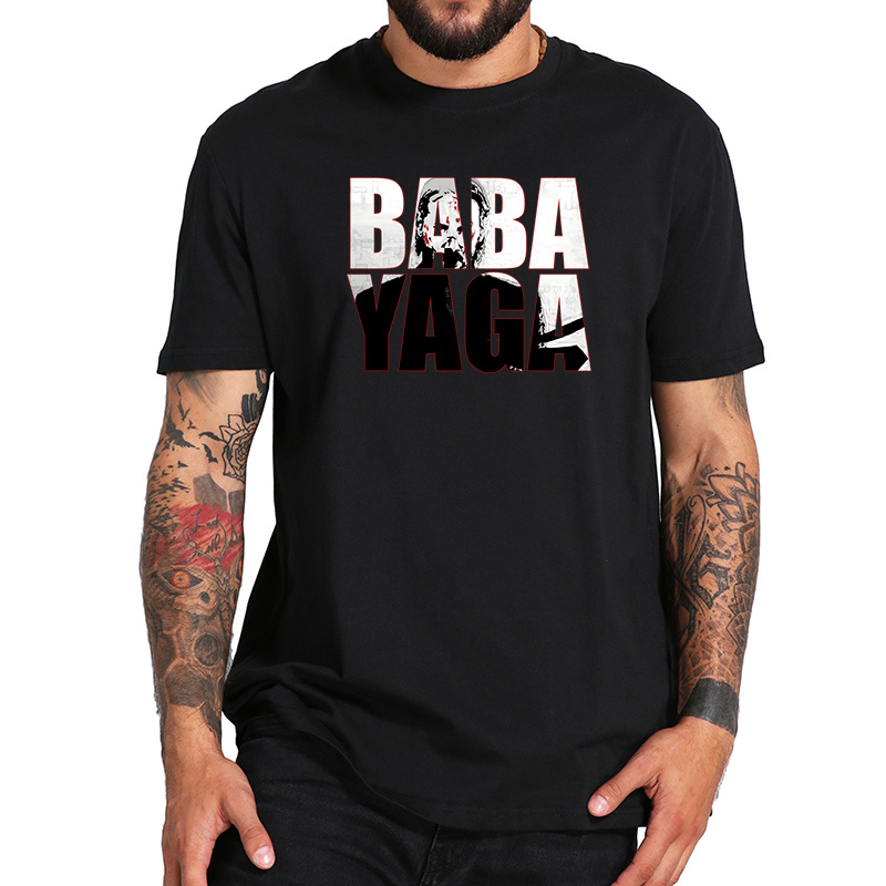 EU Size 100% Cotton   T     Shirt   John Wick Movie Homme BABA YAGA Printed Creative Design Tops Casual Short Sleeve Breathable Tees