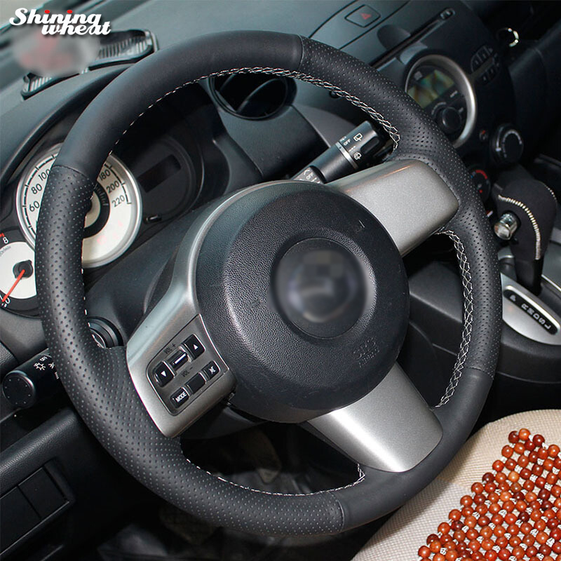 Shining wheat Black Genuine Leather Hand-stitched Car Steering Wheel Cover for Mazda 2 2008-2014