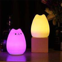LED Children Animal Night Light Cute Silicone Lamp Kids Bedside Lights Warm White 7-Colour changing USB Rechargeable