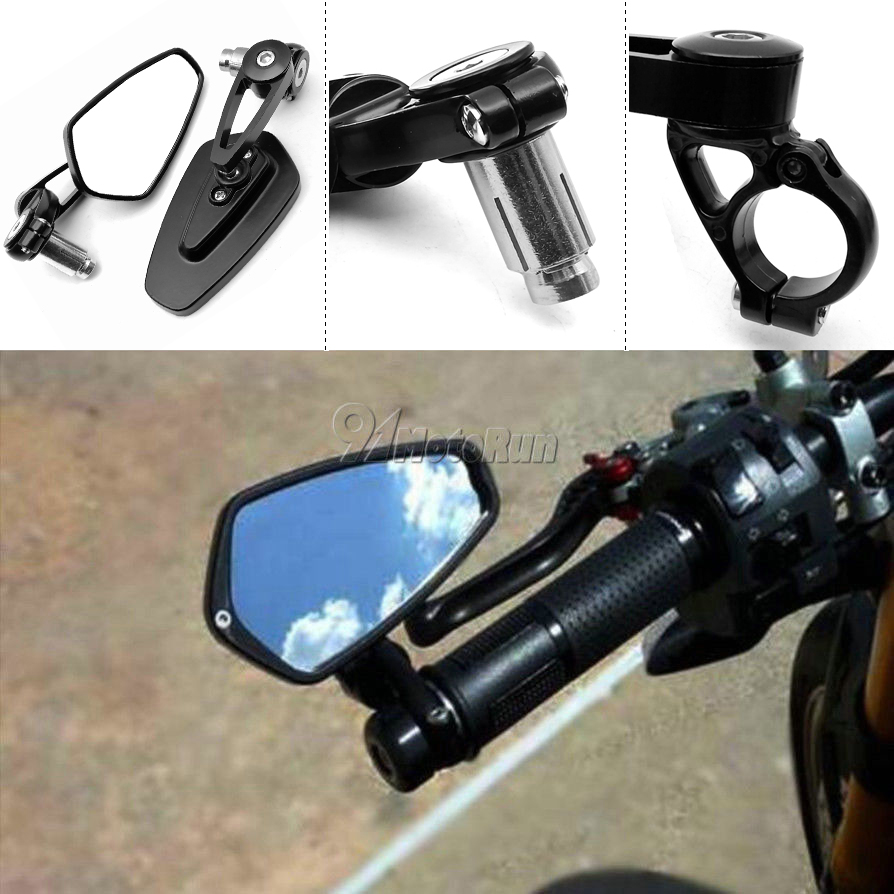 "1 Pair 7/8"" 22mm Universal Motorcycle Aluminum Rear View Black Handle Bar End Side Rearview Mirrors(China)"