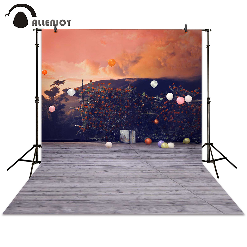 Allenjoy photography backdrop balloon sunset flower rack board wood mountain background photocall photographic photo studio allenjoy diy wedding photography background romantic love wood board custom name date phrase backdrop photocall