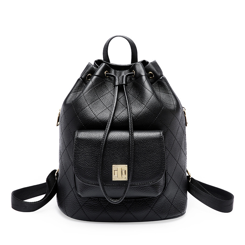 Famous Brand Paste Women Backpack Diamond Lattice 100% Real Leather Lady Knaspack Lock Design Drawstring Preppy School Bag