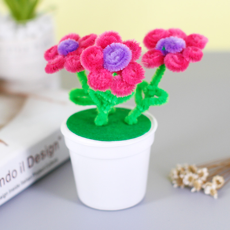Diy Flower Pot Multicolour Chenille Stems Pipe Cleaners Handmade Children Toys Art Craft Material Kids Creativity Handicraft