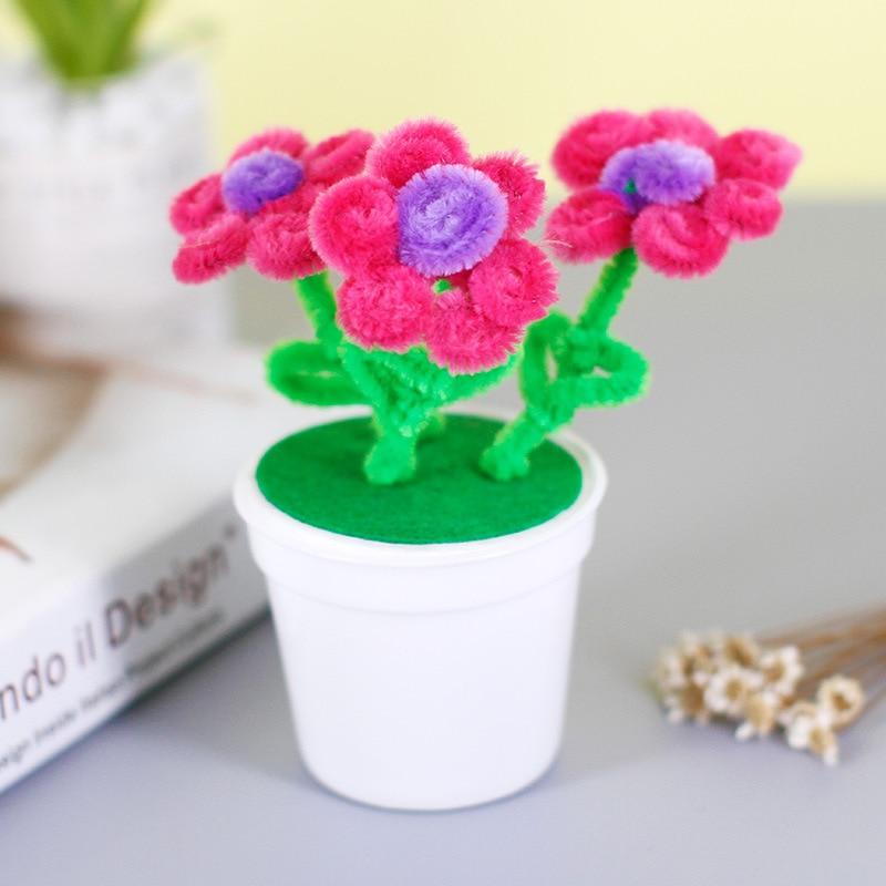 Diy Flower Pot Multicolour Chenille Stems Pipe Cleaners Handmade Children Toys Art Craft Material Kids Creativity Handicraft