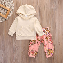 Newborn Baby Girls Long Sleeve T-shirt+Pants Outfits Hooded 2PCS Clothes Set