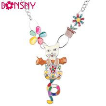 Bonsny Maxi Alloy Flower Cat Necklace Chain Enamel Jewelry Colorful Pendant 2016 New Fashion Jewelry For Women Statement Charm(China)