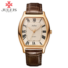 2016 большие продажи мужчины мода повседневная бизнес спорт натуральная кожа часы Мужской ретро аналоговый шторка часы Известных топ-Юлий 703