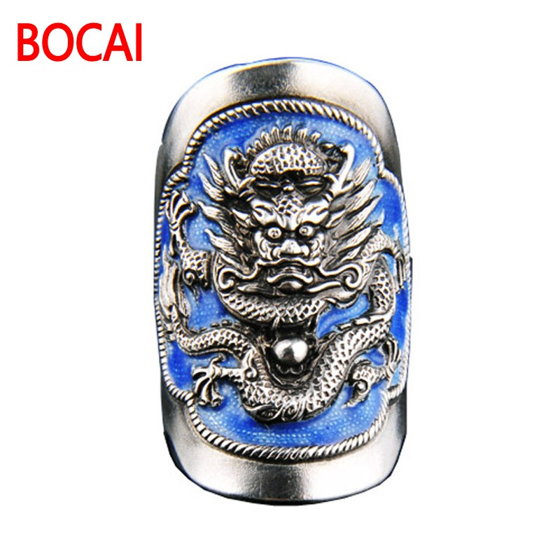 ring handmade Vintage Sterling Silver Ring Silver Enamel Shaolan dragon ring [Certificate] send men and women alive. vintage diamante turtle embellished alloy ring for men and women