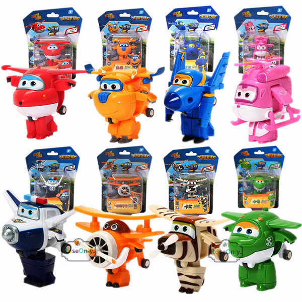 8pcs /Set Super Wings Mini Airplane Robot baby toys Action Figures Super Wing Transformation Animation for Children Kids Gift