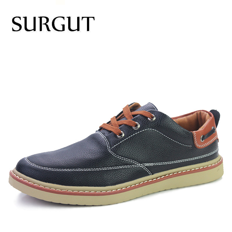 SURGUT Brand 2018 New Breathable Summer Moccasins Casual Men Loafers Leather Shoes Men Flats High Quality pu Leather Men Shoes surgut brand new colors cow split leather men flat shoes brand moccasins men loafers driving shoes fashion casual shoes hot sell