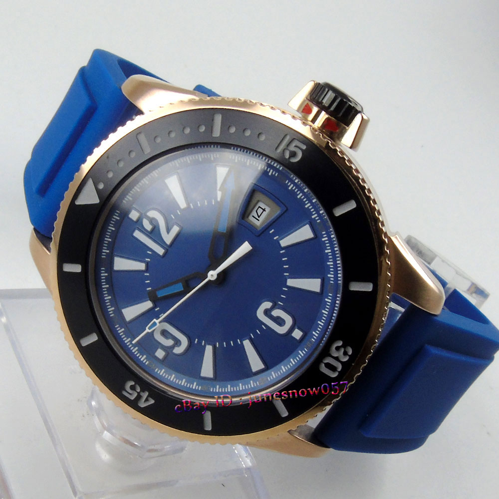 лучшая цена BLIGER 43mm blue sterial dial date luminous ceramic bezel gold case rubber strap MIYOTA Automatic men's watch