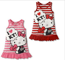 цена на 2015 Cartoon Summer Kids Dress Clothing Hello Kitty Baby Dress Children Girls Princess Dress Freeshipping