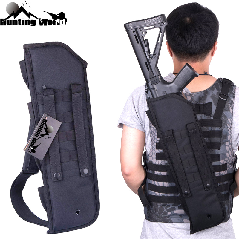 Tactical Molle Rifle Carrying Bag Shot gun Scabbard Gun Protection Case Backpack Shoulder Sling Case Holster for Hunting Airosft