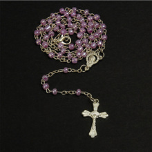 4mm Stainless Steel Necklace Rosary Pearl Stainless Steel Rosary Necklace Ladies Jewelry Necklace Jesus Cross Necklace 7mm amethyst pearl rosary