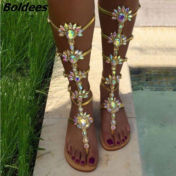 Moda diseño hebilla correas Sandalias planas Mujer rodilla alto strass gladiador sandalia botas Bohemia estilo cristal playa zapatos