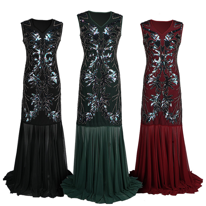 1920s Beaded Sequins Gatsby Flapper Dresses Long Vintage Women Dresses Sparkling See-Through Sexy Chic New Club Dresses Summer