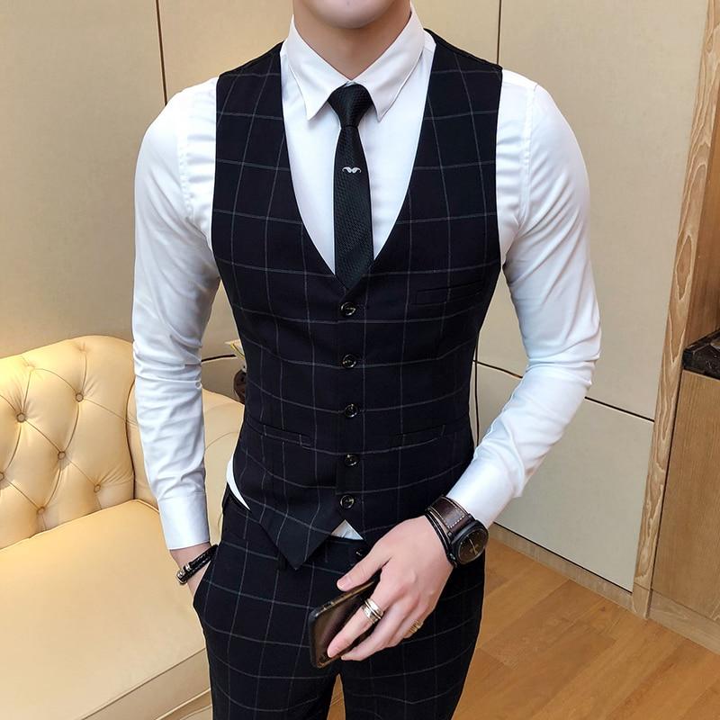 Fashion Lattice Suit Vests Men Business Wedding Dresses Mens Vest Classic Slim Fit Male Waistcoat Size S-4XL
