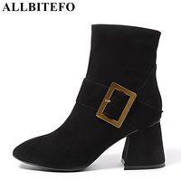 ALLBITEFO Metal Charm Nubuck Leather Square Toe Thick Heel Women Boots Medium Heel Martin Boots High