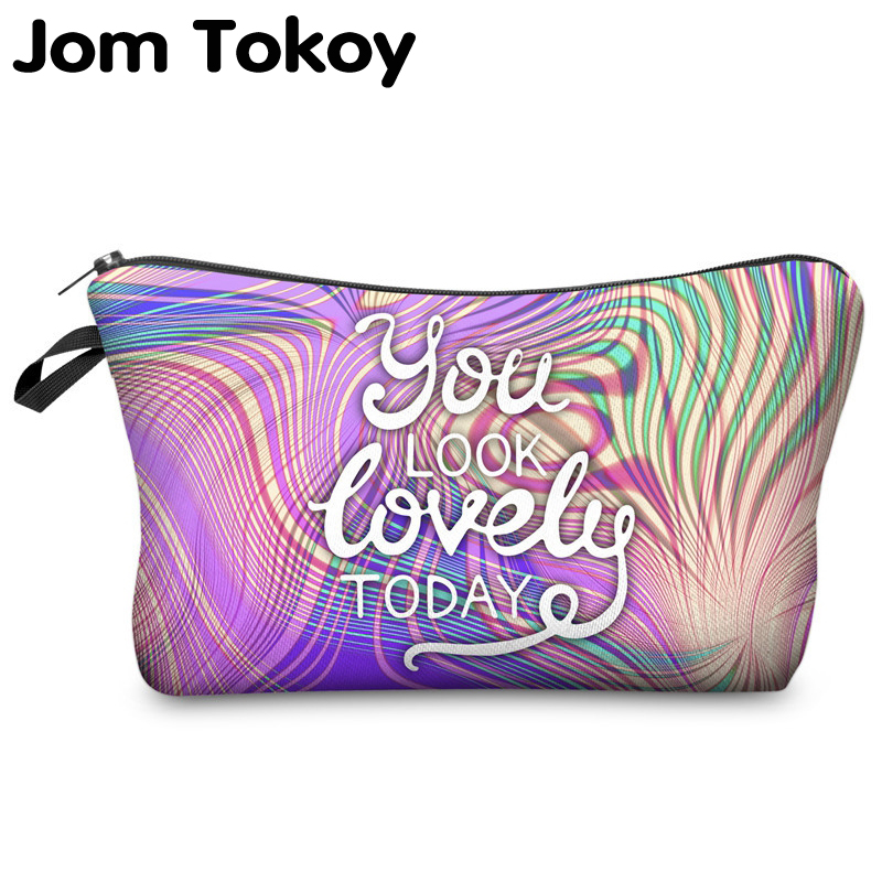 Jom Tokoy Cosmetic Organizer Bag You Look Lovely Today 3D Printing Cosmetic Bag Fashion Women Brand Makeup Bag