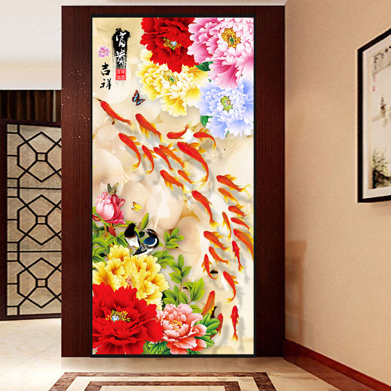 DIY Full Diamond Embroidery Chinese Design Nine Fishes Flower Diamond Mosaic Pattern For Living Room Home Entrance DecorationDIY Full Diamond Embroidery Chinese Design Nine Fishes Flower Diamond Mosaic Pattern For Living Room Home Entrance Decoration