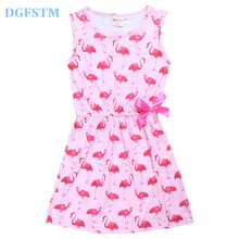 2017 Summer Flamingo poppy Costume Children Clothing Baby Girls Dress Teenager Designs Swan Princess Dresses Kids clothes 4-10y