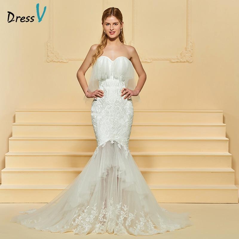 Sweetheart Mermaid Wedding Gown: Dressv Ivory Wedding Dress Tulle Sleeveless Sweetheart