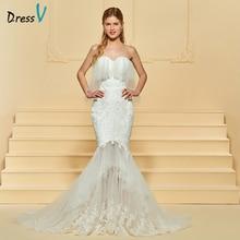 Dressv Ivory Wedding Dress Tulle tanpa lengan Sweetheart Neck Mermaid Bunga Plus Saiz 2018 Custom Wedding Dress Gown Perkahwinan