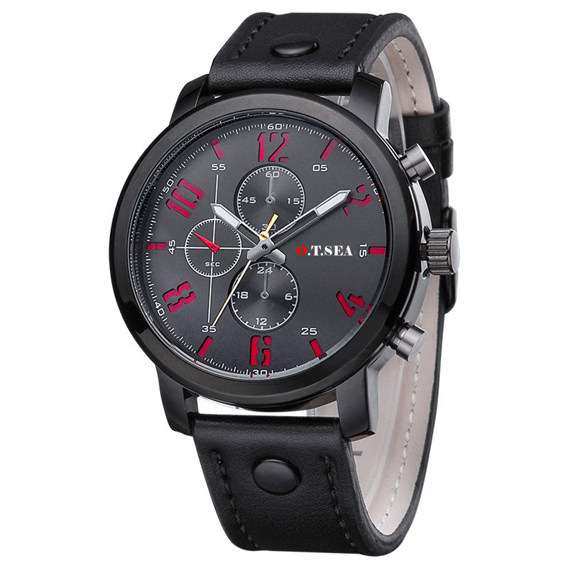 Watch Military Style with Leather Strap Black