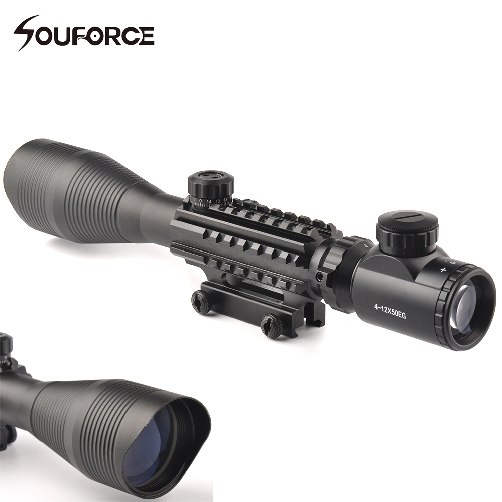 4-12X50 Tactical Optical Rifle Scope Red Green Dual illuminated Shockproof Scope Fit For 20mm Rail Hunting Airsoft airsoft c4 12x50 tactical optical rifle scope red green dual illuminated w side rails