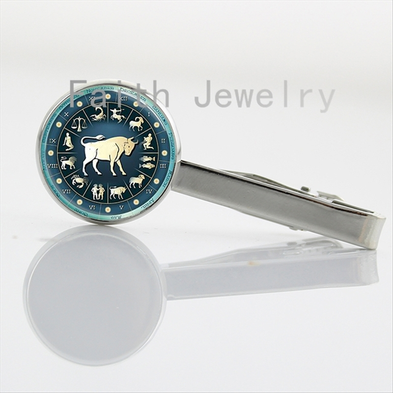 Father's Day gifts 2016 newest fashion Zodiac art image tie clips jewelry class Astrologal Sign tie bar Birthday gift NS021