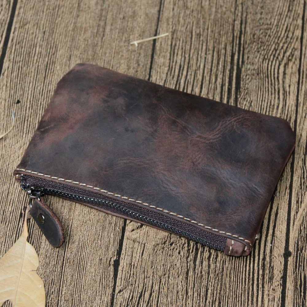 YISHEN Vintage Genuine Leather Men Wallets Small Zipper Coin Purse Male Card Holder Bags Short Wallet Casual Women's Purse 1015 dalfr genuine leather mens wallets card holder male short wallet 6 inch cowhide vintage style coin purse small wallet