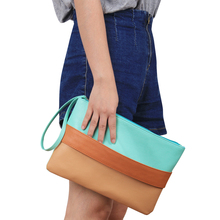 New Contrast Color Patchwork Lady Daily Clutch Soft PU Zipper Handbag Female Colorful Casual Bag Women Make up Bags