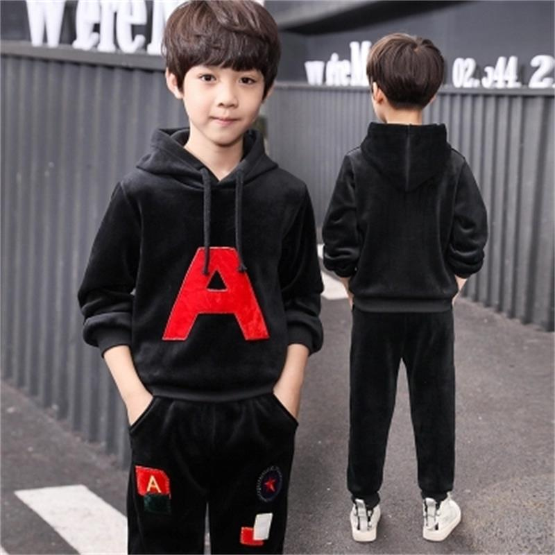 Childrens clothing boy sports suit spring and autumn childrens gold velvet sweater two sets of 2018 new kids spring clothes