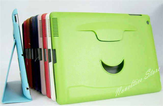 Hot Sell Foldable Smile Face Stand Leather Case for iPad 2, iPad 3, iPad 4, Multi-Colors, 1pc/lot
