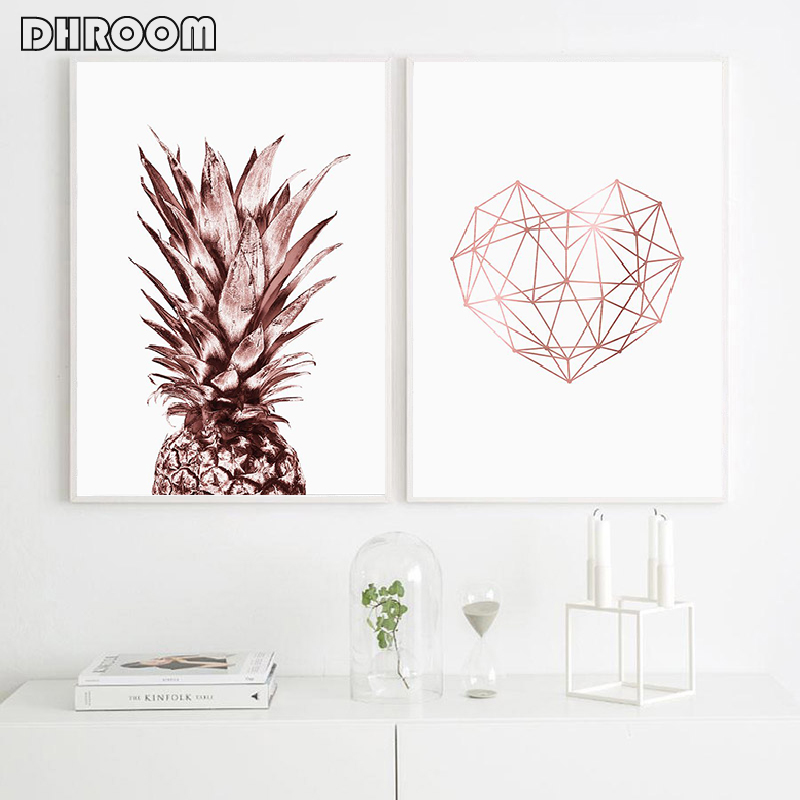 Rose Gold Wall Art Tropical Pineapple Posters And Prints Geometric Heart Canvas Painting Scandinavian Luxury Pictures Home Decor