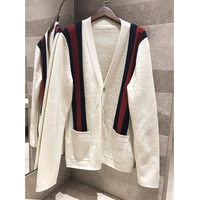 2018 autumn and winter new striped color V neck wool cardigan casual men and women with the same sweater long sleeved jacket