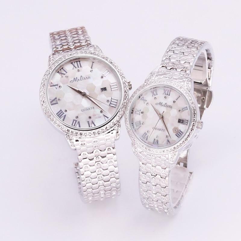 все цены на Luxury Melissa Men's Watch Women's Watch Elegant Rhinestone Stainless Steel Large Hours Crystal Clock Girl Birthday Gift Box