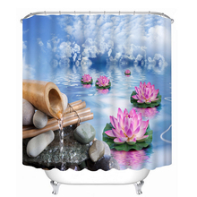 New 3D Shower Curtains Bamboo Flowing lotus Pattern Bathroom Curtains Waterproof Washable Bath Curtain Bathroom Products