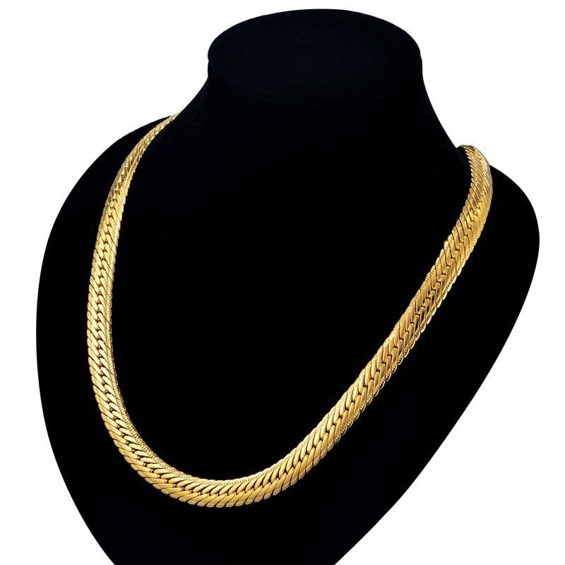 Vīriešu hipipa bieza zelta ķēdes saites kaklarota, zīmolu - Modes rotaslietas - Foto 4