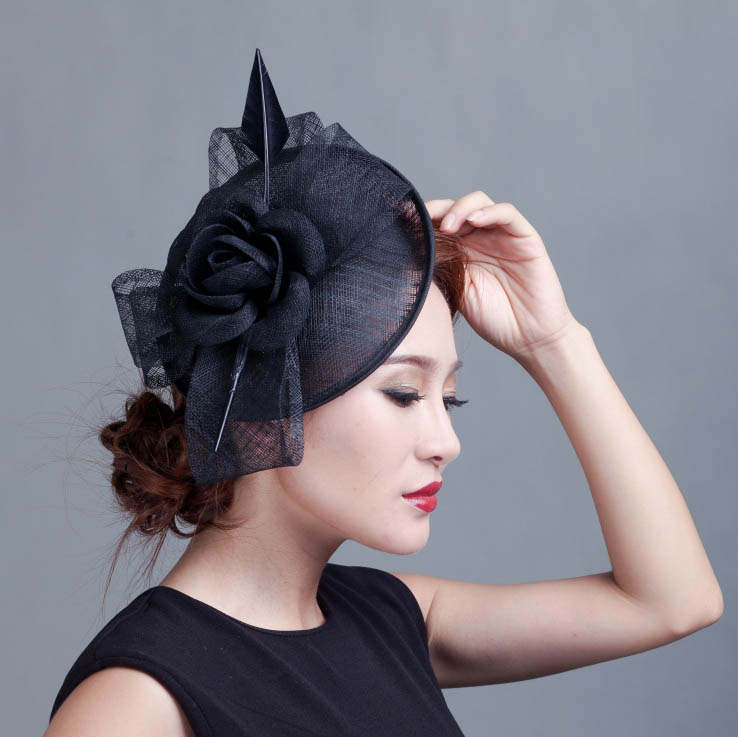 Retail boutique 2015 LADY vintage feather Sinamay fascinator flower big bow  fascinator for horse racing festival wedding 7colors-in Women s Hair  Accessories ... 36e9c70f703
