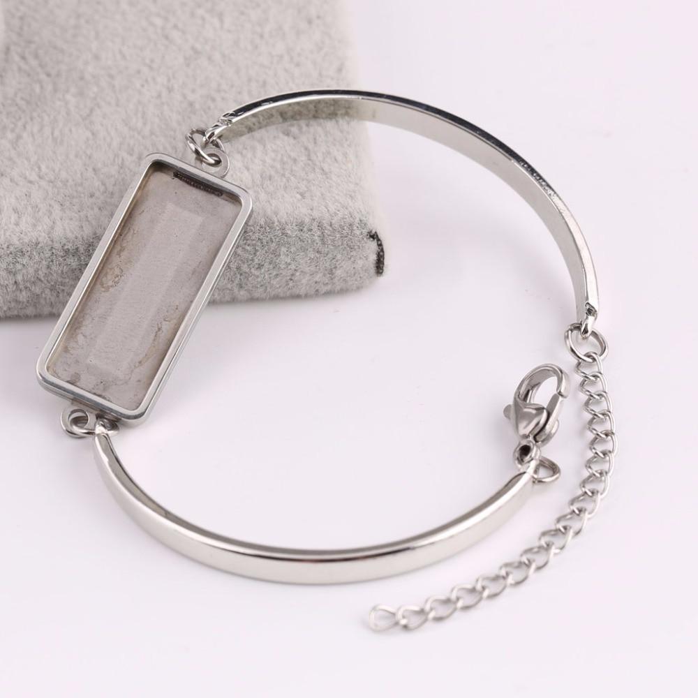 onwear 5pcs 10x25mm rectangle cabochon bracelet setting blanks stainless steel bezel trays diy cuff bracelets base