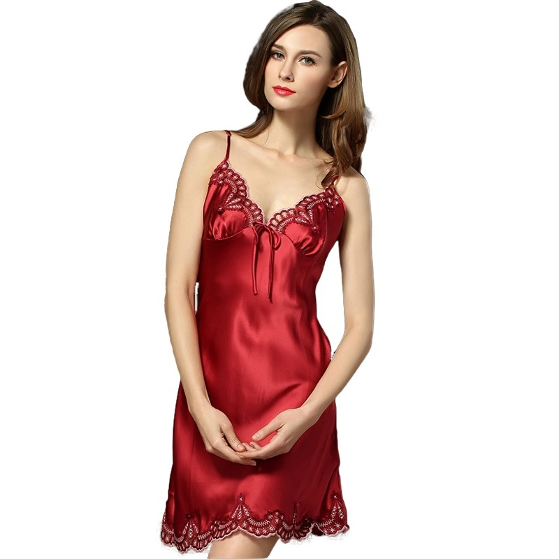 100% Silk Nightgown Women Sleepdress Ladies Nightie Lace Nightdress Chemises Slip Sleepwear Satin Nightwear