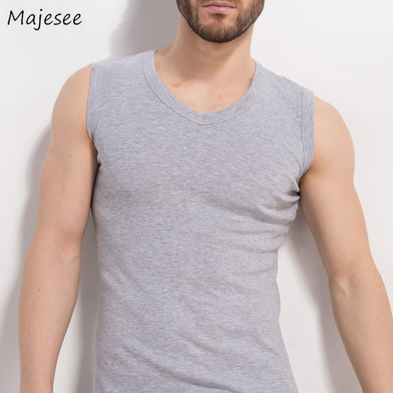 Tanks Men Solid Simple All-match Korean Style Leisure Daily Soft Cotton High Quality Tank Mens Large Size Summer Breathable Top Tops & Tees